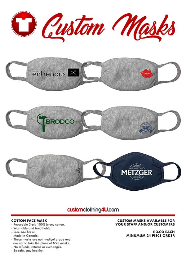 Custom Safety Wear - Custom Cloth Masks - COVID Safety Gear - CC4U
