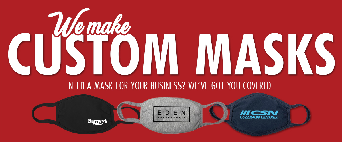 """Photo of custom designed masks. Text on screen says """"We make custom masks. Need a mask for your business? We've got you covered."""""""