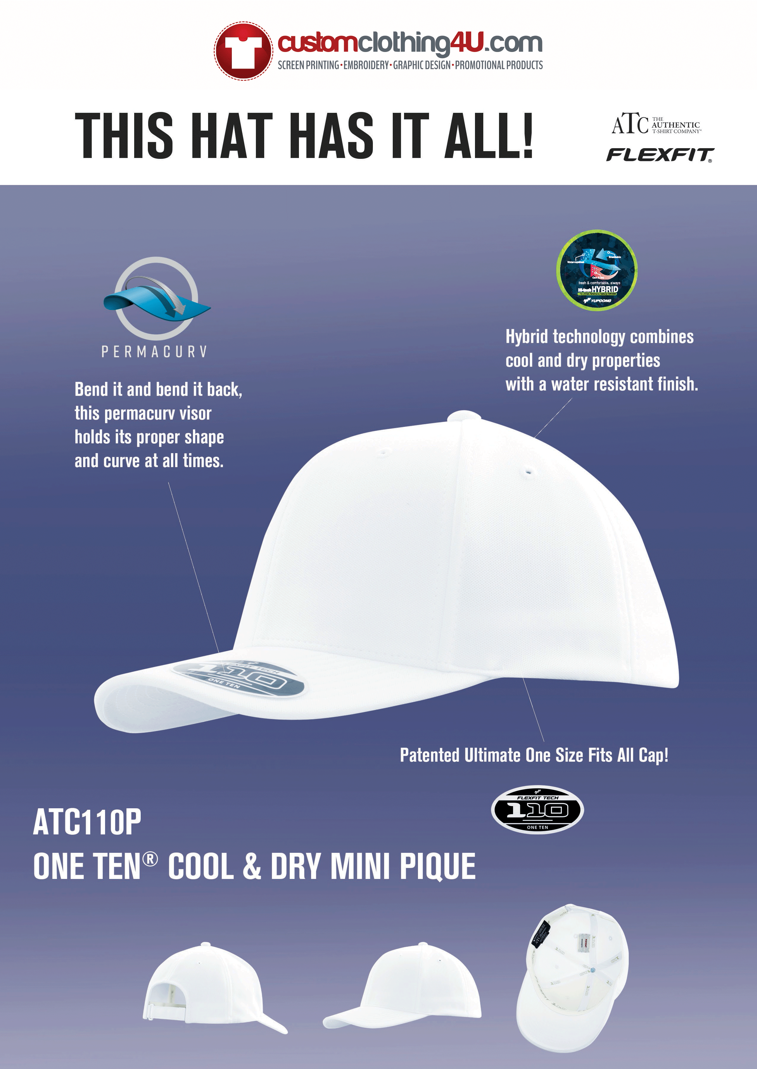 Custom Clothing - embroidered baseball caps - screen printed hats
