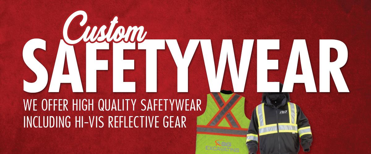 "Photo of a hi-vis safety vest and a hi-vis safety jacket. Text on screen says ""Custom safetywear: we offer high quality safetywear including hi-vis reflective gear."""