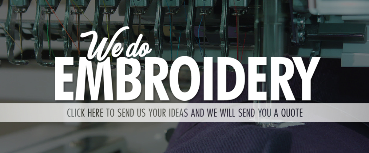 """Close up photo of an embroidery machine. Text on screen says """"We do embroidery. Click here to send us your ideas and we will send you a quote."""""""