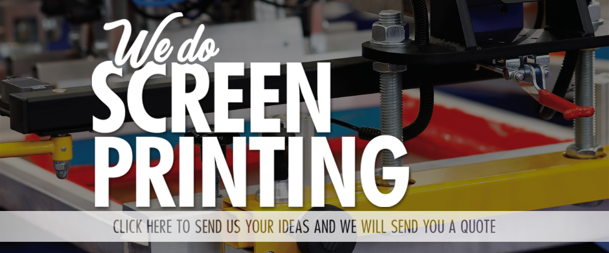 """Close up photo of a screen printer. Text on screen says """"We do screenprinting. Click here to send us your ideas and we will send you a quote."""""""