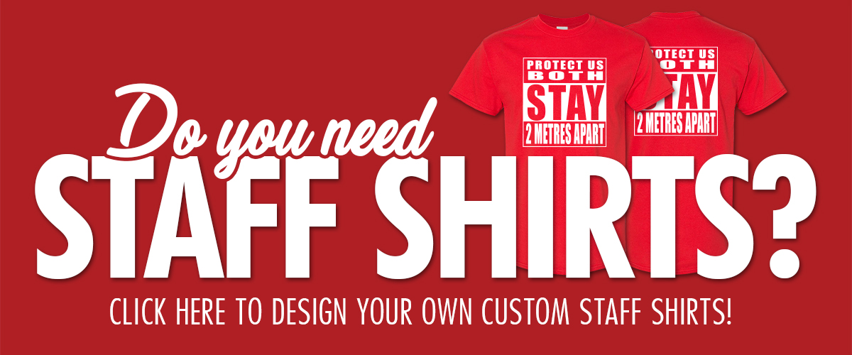 """Photo of two custom staff shirts. Text says """"Do you need staff shirts? Click here to design your own custom staff shirts!"""""""
