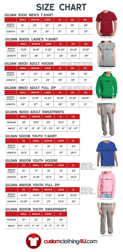 Custom Clothing 4U Size Chart